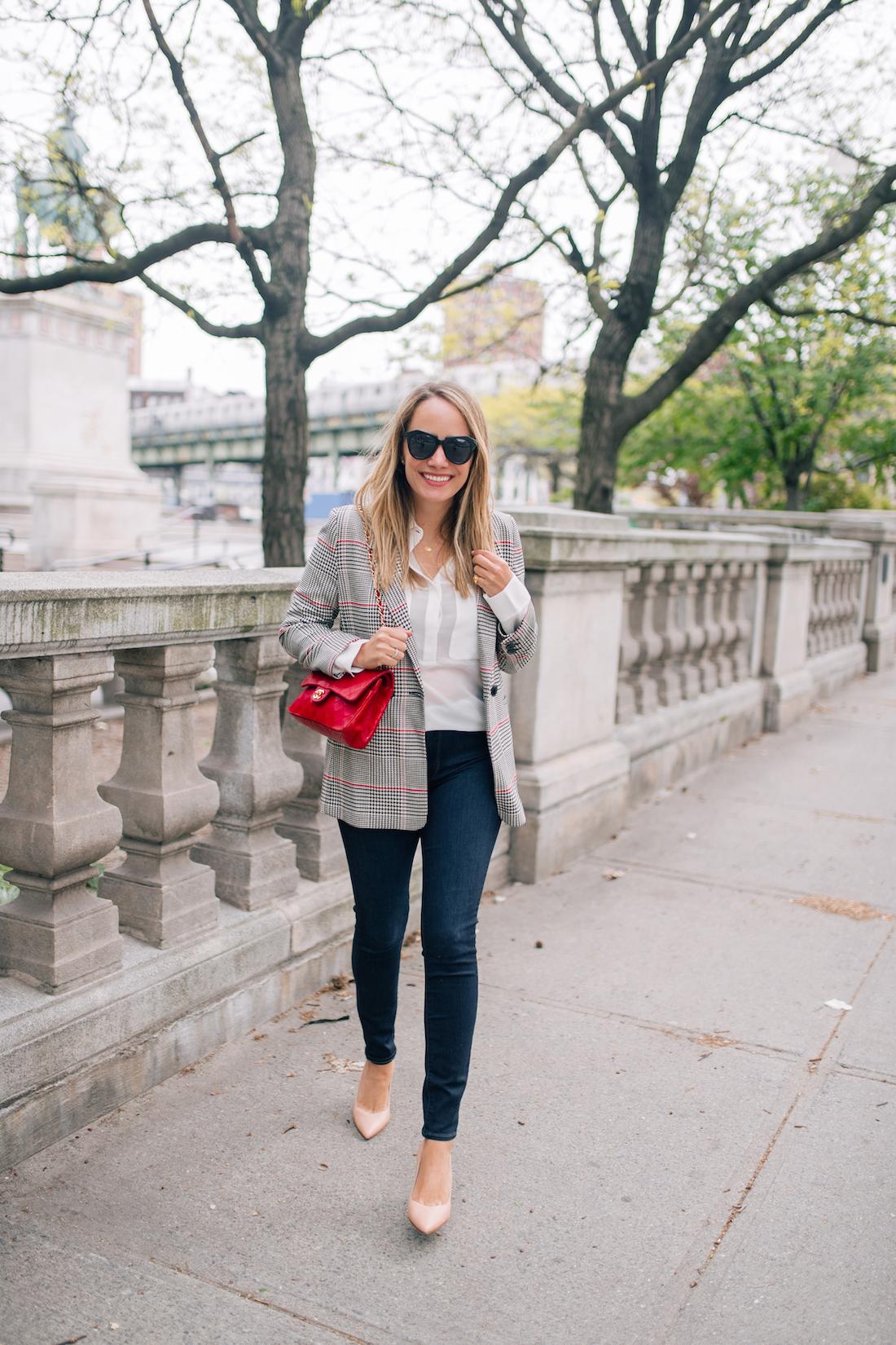 Grace Atwood's Outfit Details: Anine Bing Blazer // gifted INSPR top // Paige Jeans // Chanel Red Bag (Vintage) // Sarah Flint Heels // Karen Walker Sunglasses