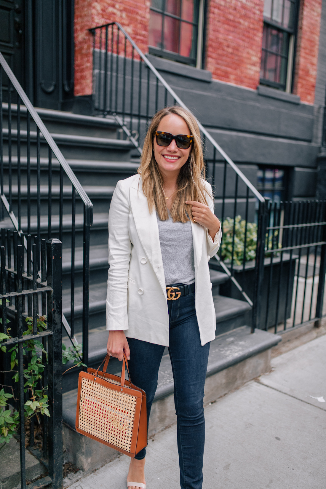 f0ef9f2164cc1 Outfit Details: White Blazer For Spring // Madewell Tee // Paige Jeans /