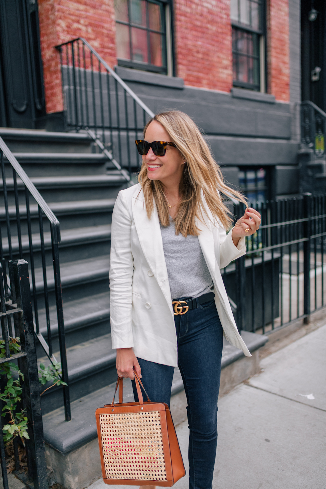 Grace Atwood Outfit Details: White Blazer For Spring // Madewell Tee // Paige Jeans // Gucci Belt //  Palmgrens Bag // Celine Sunglasses // Estee Lalonde x Daisy Jewellery Necklace