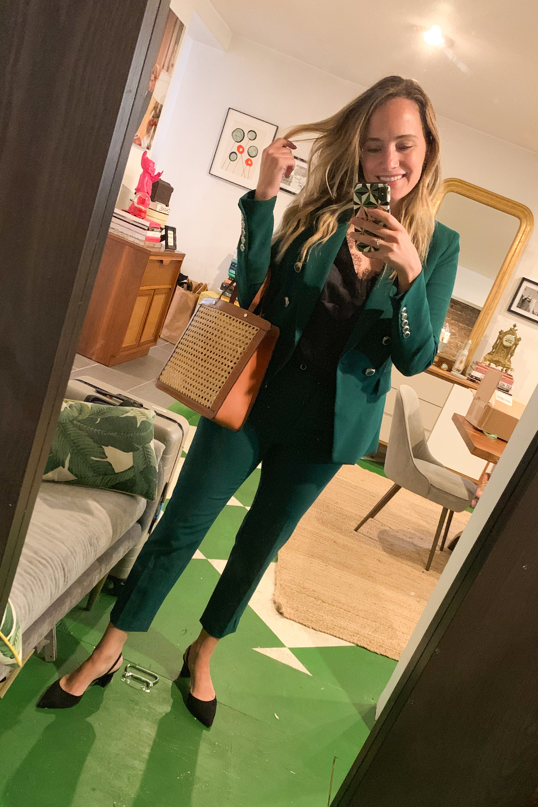 green blazer outfit on grace atwood