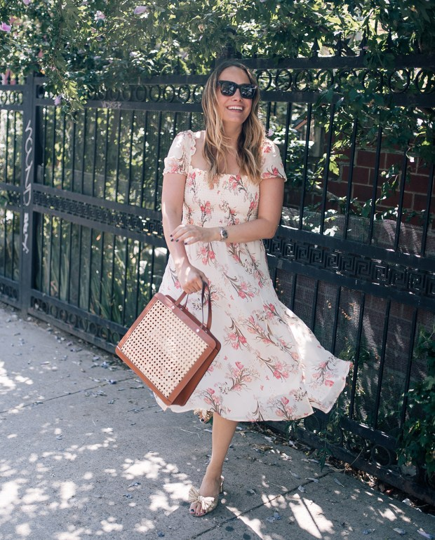 Summer Wedding Guest Outfit begins with a country reformation dress