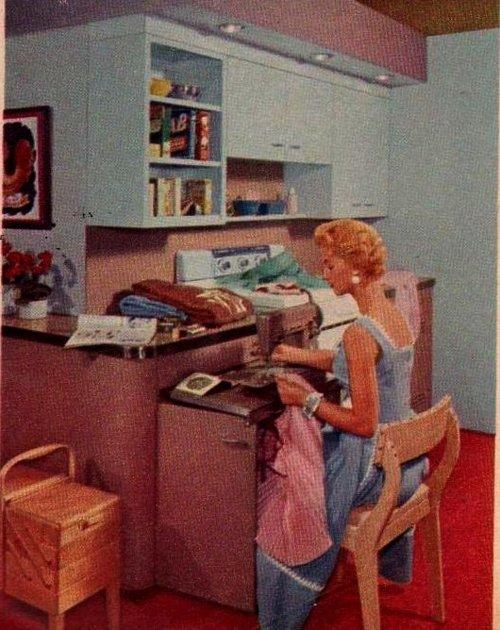 Woman sewing vintage