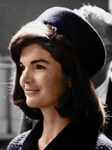 Jackie Kennedy in navy blue schedule