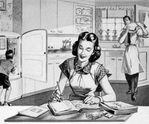Homemaker making grocery list
