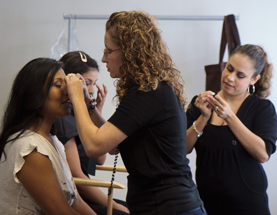 Native Curves rents the studio for their photography and makes use of the hair and make-up area