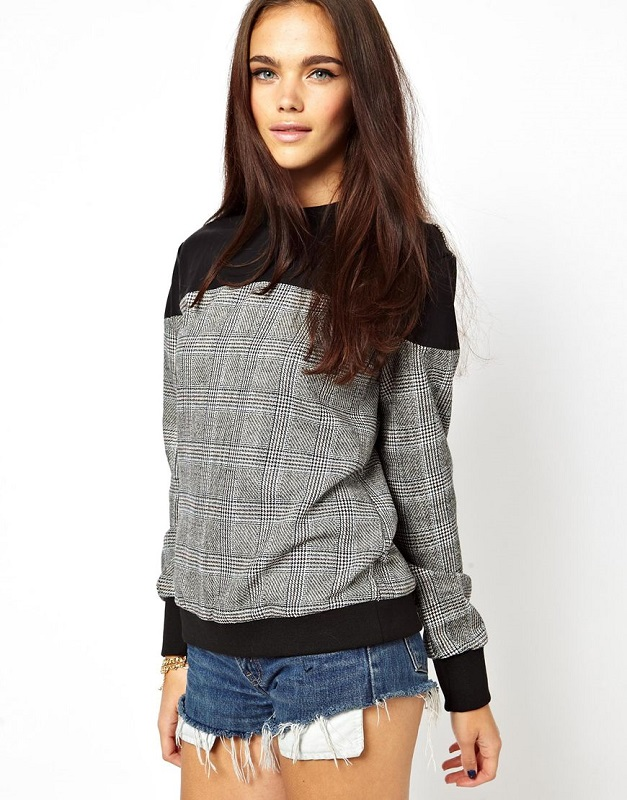 Glamourous Sweatshirt With PU and Check Panel, Asos.com