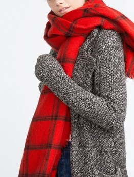 Striped Check Scarf, $25.90, zara.com