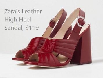 Leather High Heel Sandals, $119, zara.com