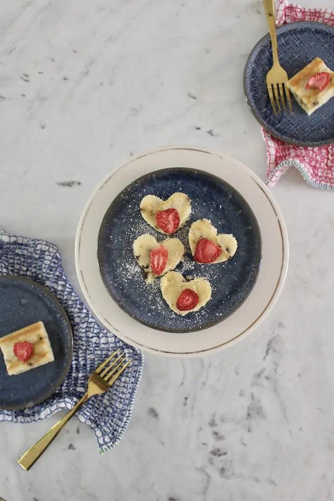 Heart-shaped pancake bites cut from sheet pan pancakes