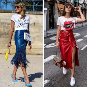 Slogan Tees and Midi Skirts
