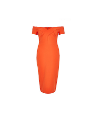 River Island Coral Bardot Bodycon Dress