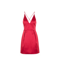 Topshop Plunge Neck Satin Dress