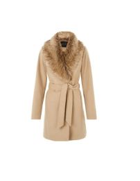 New Look Camel Faux Fur Belted Coat, £54.99