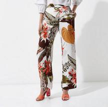 River Island Tropical Print Wide Leg Trousers