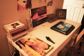 The only time I use my desk really is towards the end of the semester. I was up all night here studying.