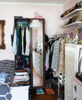 It's been quite the struggle trying to house all of my clothes and accessories. I had my landlord hang another rack in our basement where I keep anything that doesn't fit in my room.