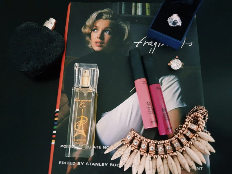 Marilyn Monroe book with perfume, lipgloss and jewellry
