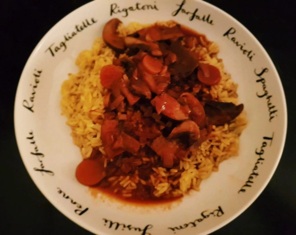 vegan mushroom bourguignon with rice