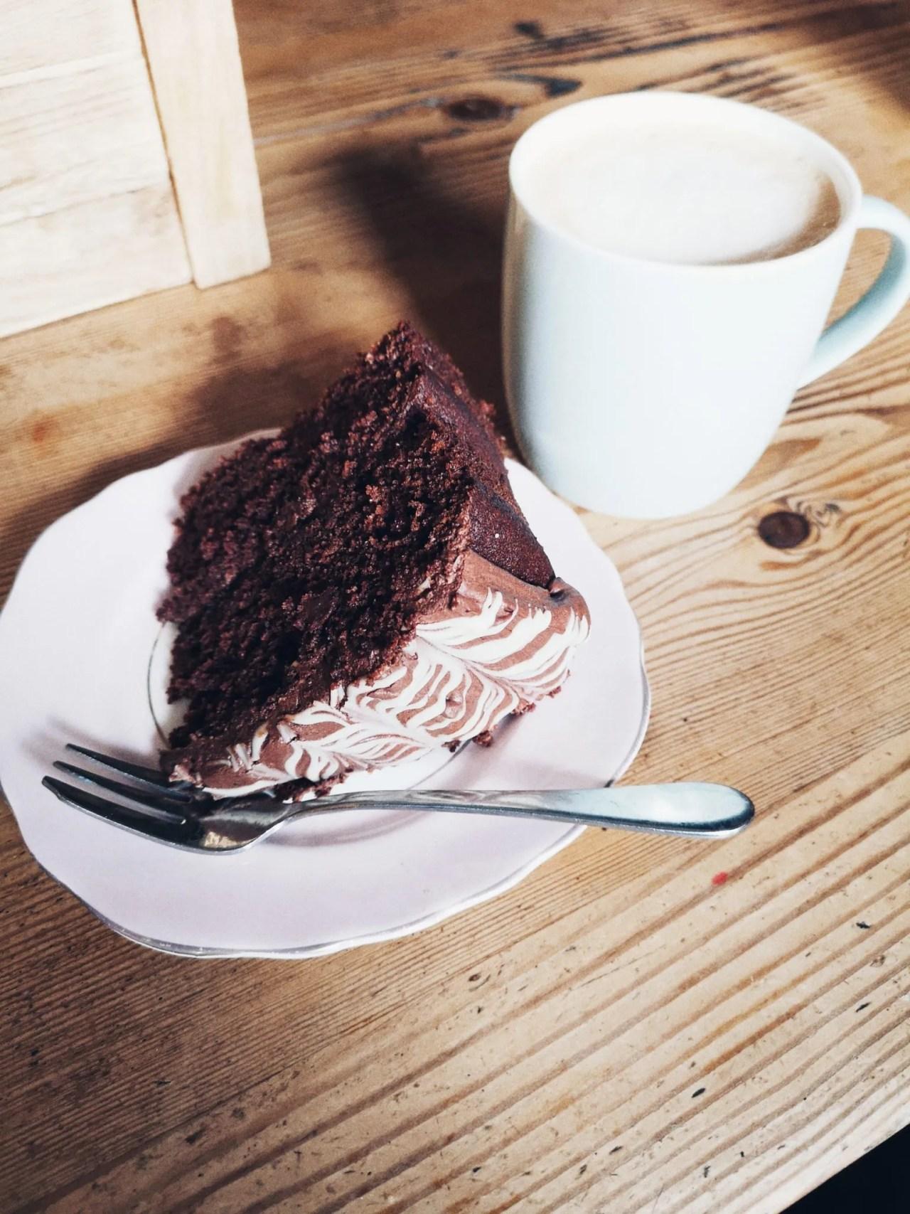 Vegan chocolate cake and coconut milk latte - The Style of Laura Jane