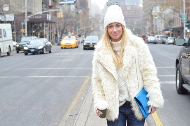 Fuzzy Cream Jacket, Boyfriend Jeans and metallic clutch // theStyleSafari