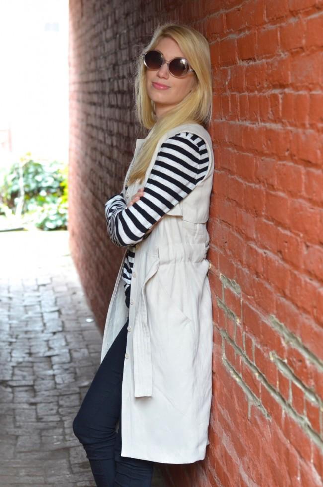 Striped Shirt, trench vest, black jeans // thestylesafari.com