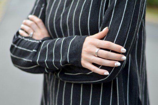 pinstripe sweater, negative space white nails // thestylesafari.com