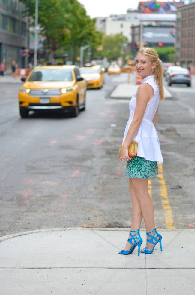 zara white peplum top, green & other stories jacquard skirt // theStyleSafari.com