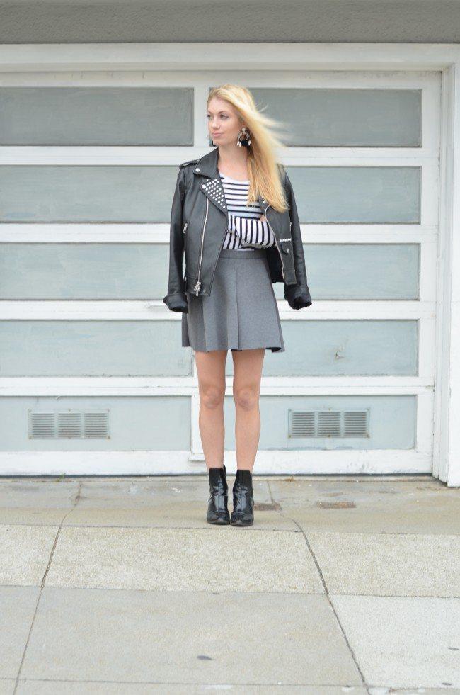 coach black leather jacket, striped top, grey flared skirt // thestylesafari.com