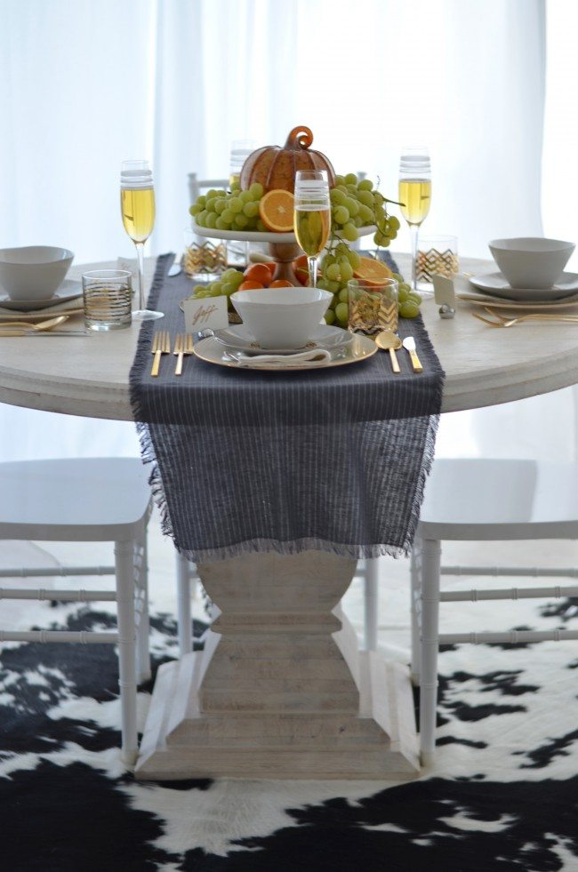 modern grey, silver and gold thanksgiving table