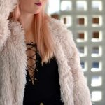 pink faux fur coat, black bodysuit, black mini skirt // thestylesafari.com