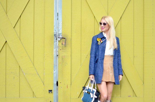 denim coat, coach soft swagger bag, suede mini skirt, python high boots // thestylesafari.com