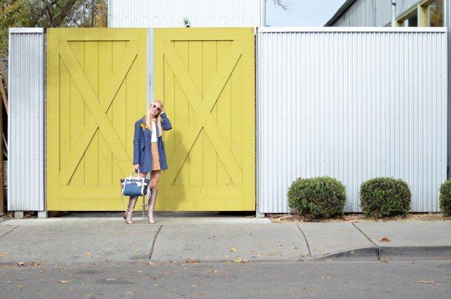 denim coat, suede mini skirt, python high boots // thestylesafari.com
