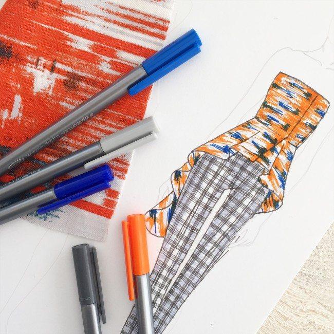 orange and blue fashion design sketch