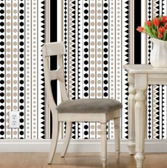 black and tan geometric stripe wallpaper and fabric // thestylesafari.com