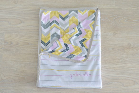 custom soft baby blanket with baby's name in stripes and chevron print, fabric designed on Spoonflower // thestylesafari.com