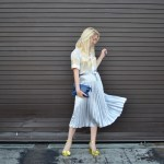 Stefanie Schoen wears Equipment gold metallic blouse, ASOS silver pleated skirt, mixed metallic outfit // thestylesafari.com