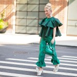 Green iridescent ruffle top and silk ruffle pants, made by Stefanie of The Style Safari, green Coach swagger bag