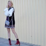 embellished shift dress, very tiered cable knit sweater, red boots, gigi new york grey cross body bag