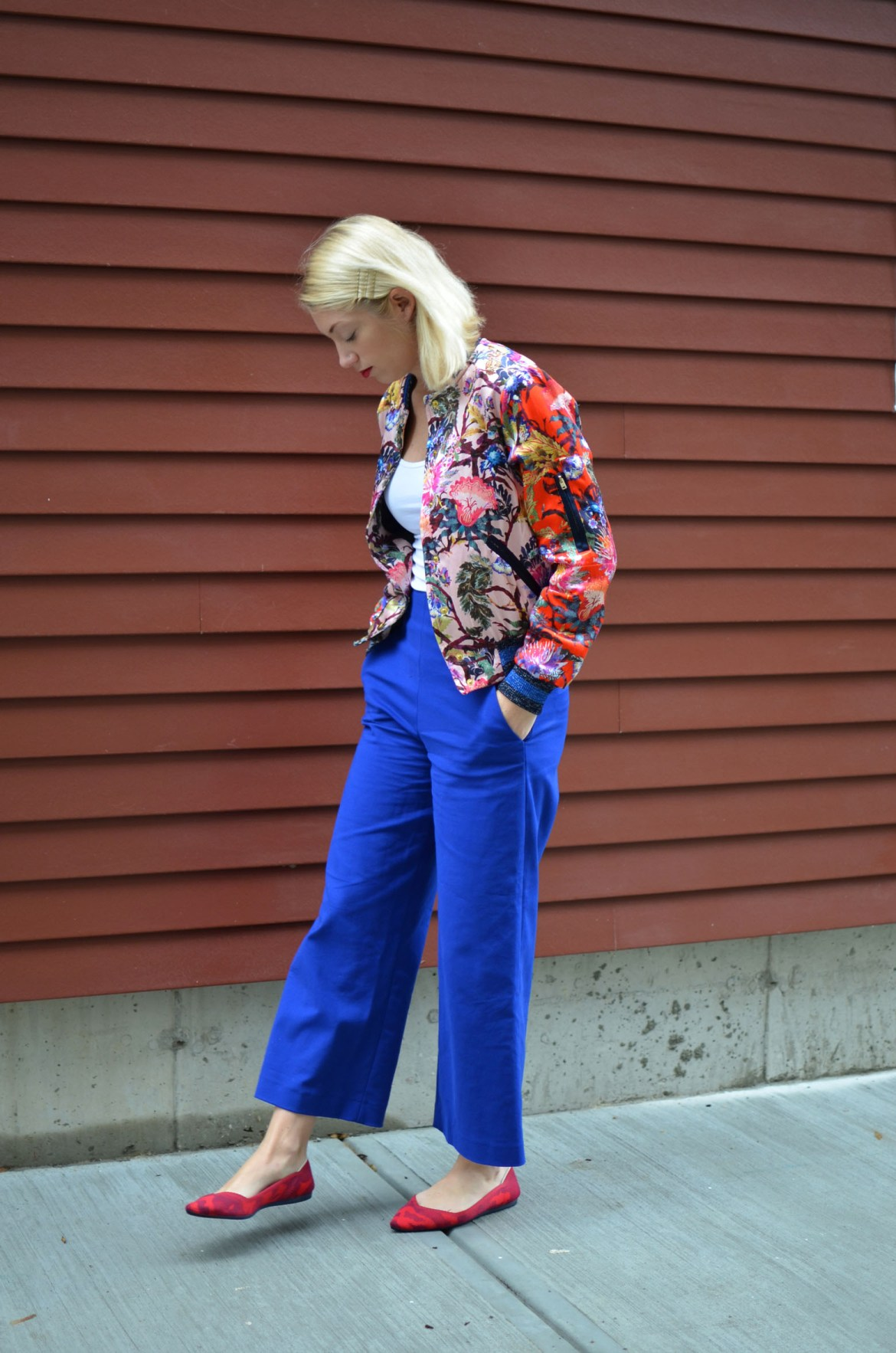 H&M floral bomber, bright clue culottes, red rothy's flats, another way to dress for fall