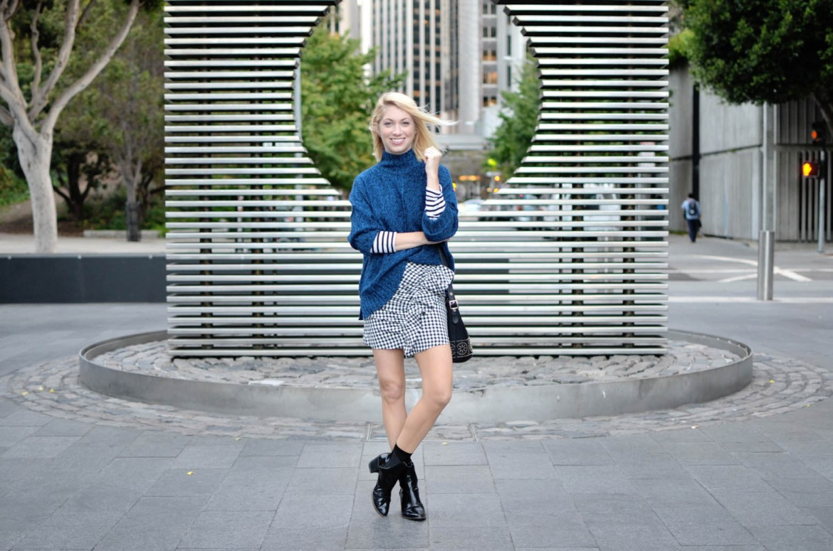 gingham ruffle mini skirt, blue oversize sweater, striped long sleeve tee, casual city street style // thestylesafari.com