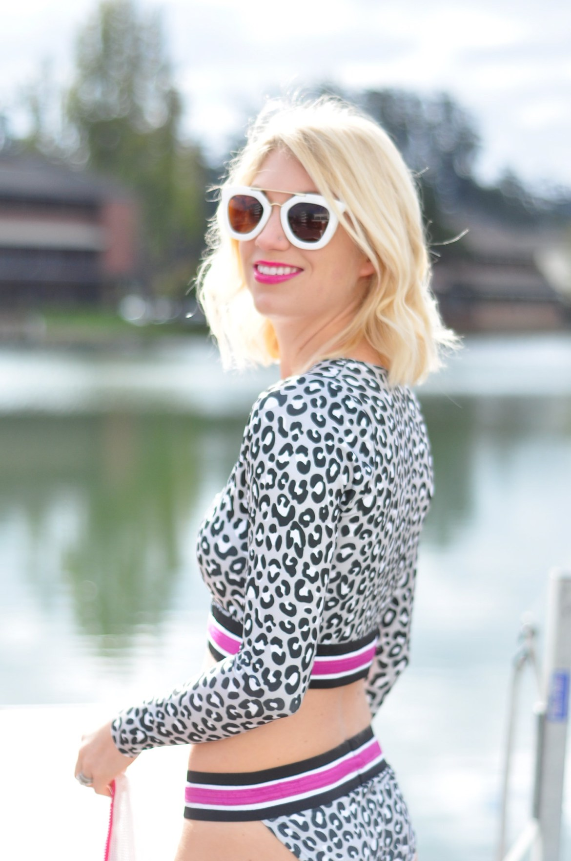 project real way sporty leopard long sleeve bikini, swimsuit and mesh cover up // thestylesafari.com