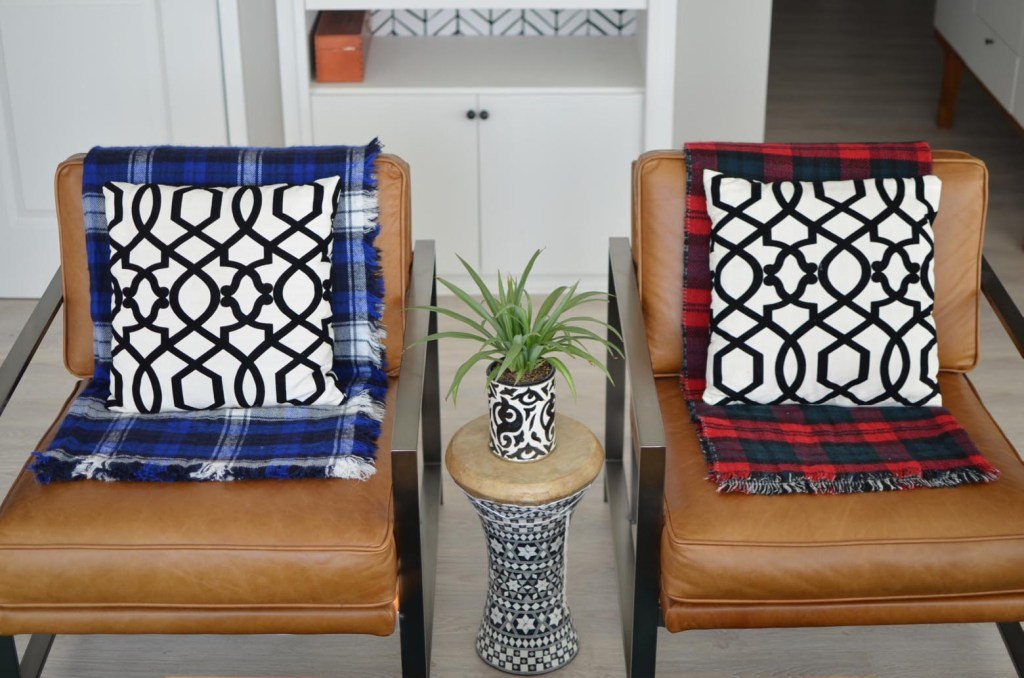 3 ways to style a plaid scarf in the home, style a plaid scarf as a runner, pillow and blanket, home decor // thestylesafari.com