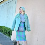 ASOS mint green shearling coat, mint pink plaid pencil skirt, grey Iris and Ink cashmere sweater, gigi new york grey crossbody bag, silver heels, mint green knit beanie hat // thestylesafari.com