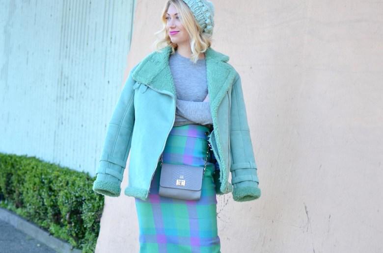 ASOS mint green shearling coat, mint pink plaid pencil skirt, grey Iris and Ink cashmere sweater, gigi new york grey crossbody bag, silver heels, mint green knit beanie hat // thestylesafari.com