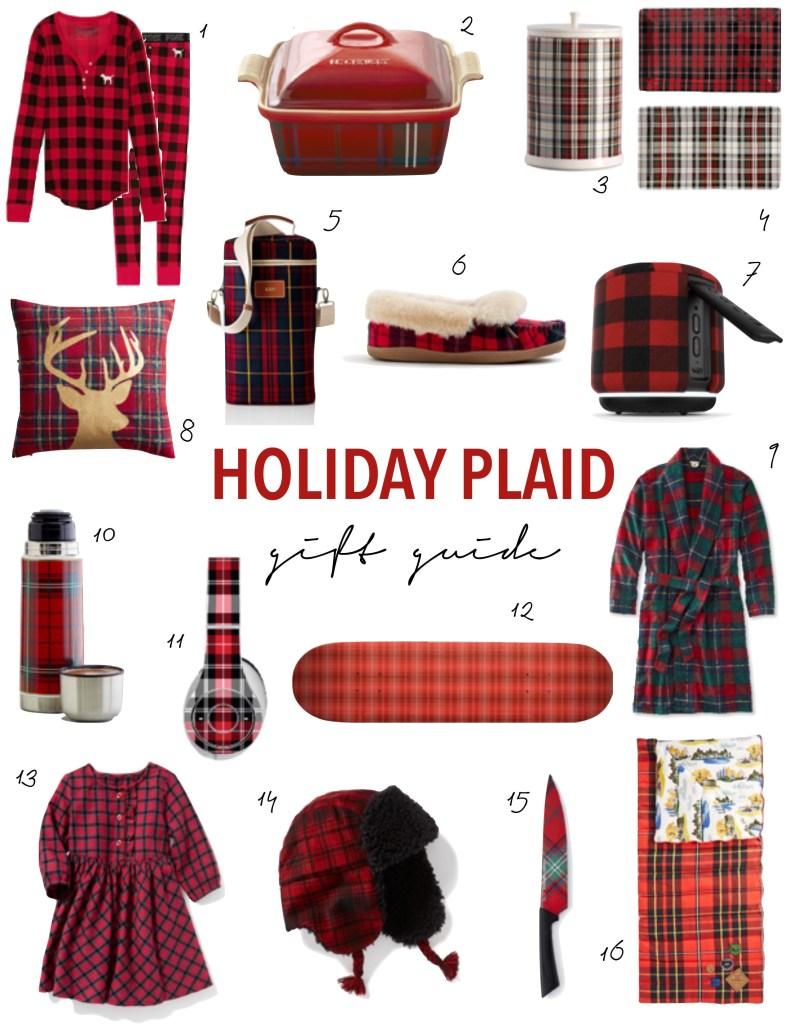 Holiday plaid gift guide, hostess gifts ideas, holiday presents, festive, tartan plaid, robe, pajamas, headphones, skateboard, slippers, dress, speaker, cookie jar, knife