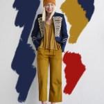 military jacket and mustard pants