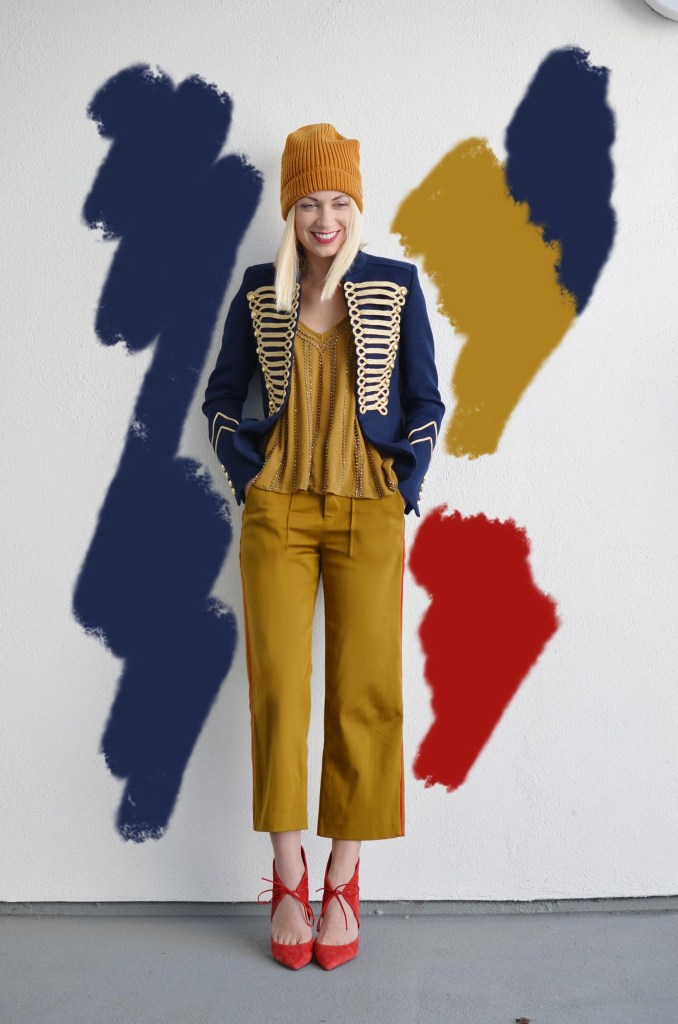 Military Trend, military jacket and mustard pants