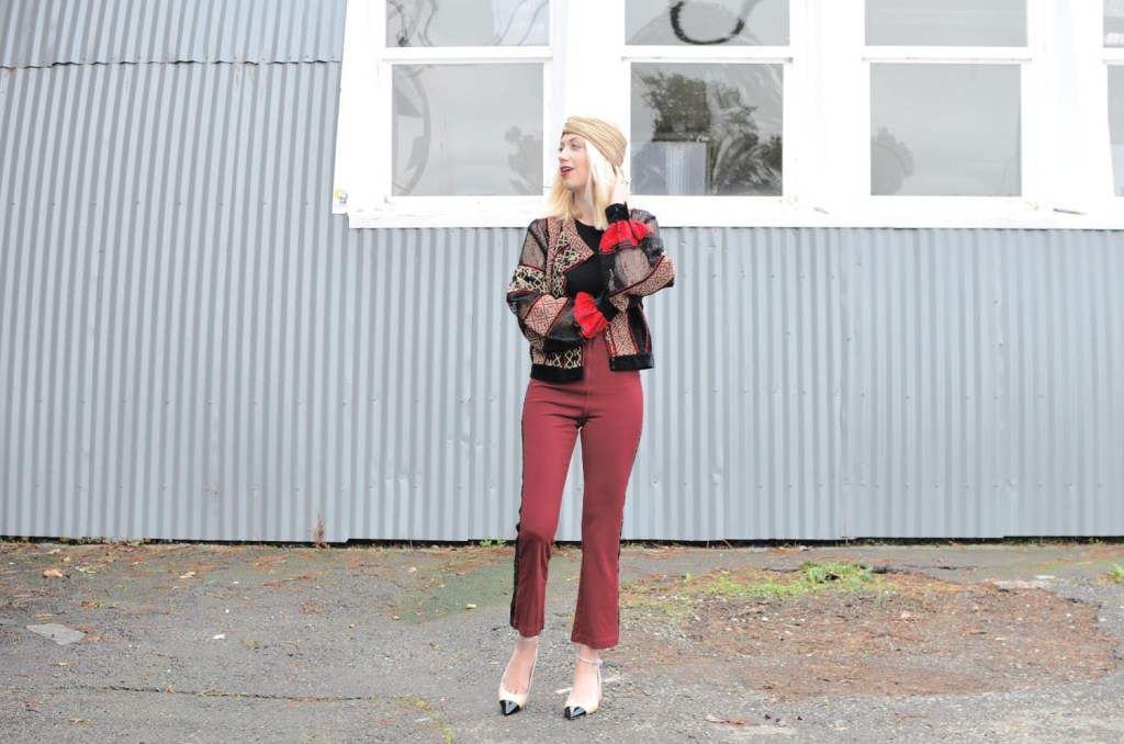 fashion vs. costume, burgundy and black lace outfit