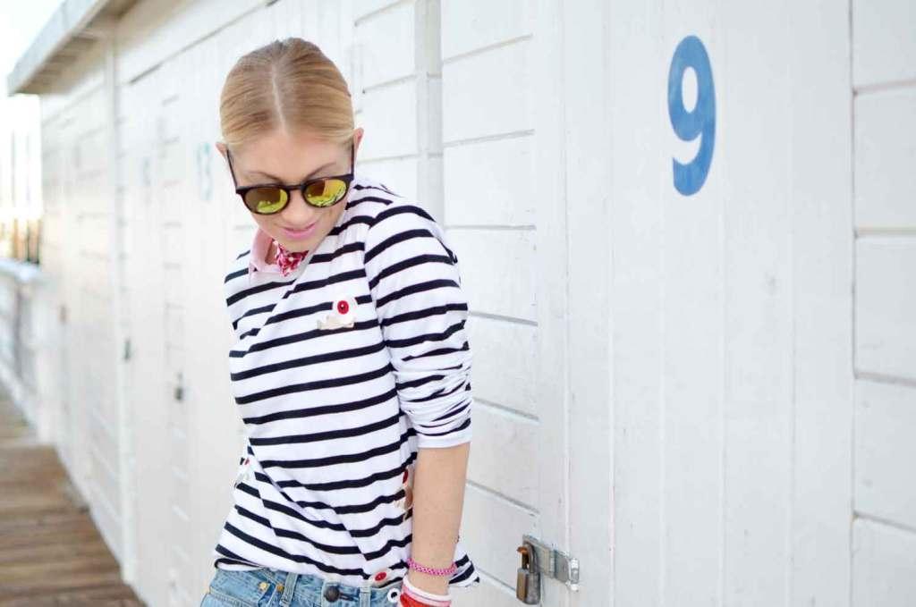casual classic style, stripe long sleeve tee, color block boyfriend jeans