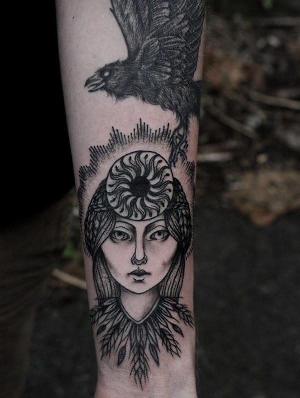 My-norse-mythos-arm-in-progress.-Huginn-Muninn-and-Sol-Goddess-of-the-sun.-Baylen-levore-in-Asheville-NC